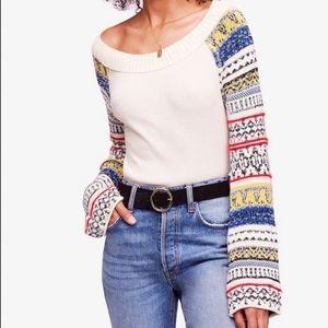 Free People • thermal knit fair isle sweater xs